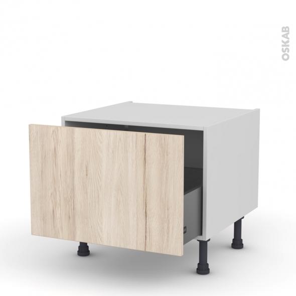 Meuble de cuisine - Bas coulissant - IKORO Chêne clair - 1 porte - L60 x H41 x P58 cm