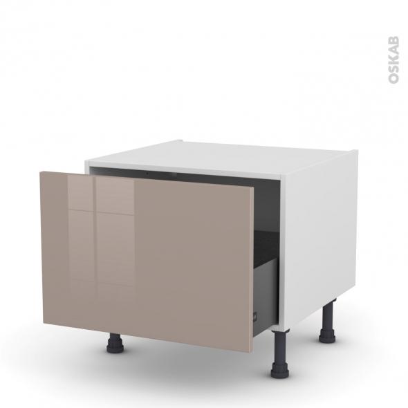 Meuble de cuisine - Bas coulissant - KERIA Moka - 1 porte - L60 x H41 x P58 cm