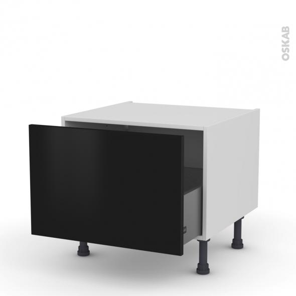 Meuble de cuisine - Bas coulissant - GINKO Noir - 1 porte - L60 x H41 x P58 cm