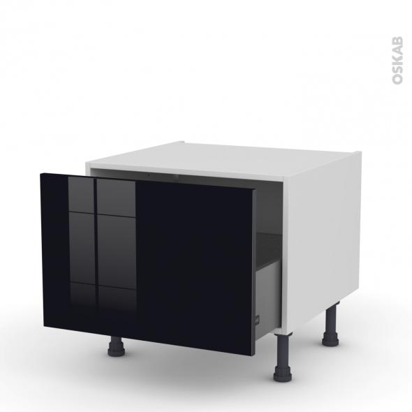 Meuble de cuisine - Bas coulissant - KERIA Noir - 1 porte - L60 x H41 x P58 cm