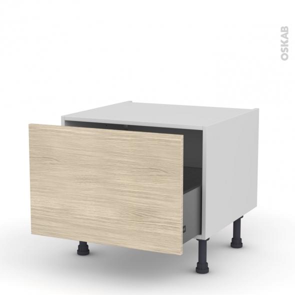 Meuble de cuisine - Bas coulissant - STILO Noyer Blanchi - 1 porte - L60 x H41 x P58 cm