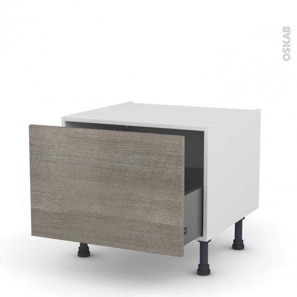 Meuble de cuisine - Bas coulissant - STILO Noyer Naturel - 1 porte - L60 x H41 x P58 cm