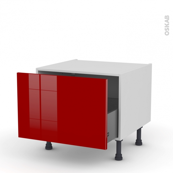 Meuble de cuisine - Bas coulissant - STECIA Rouge - 1 porte - L60 x H41 x P58 cm