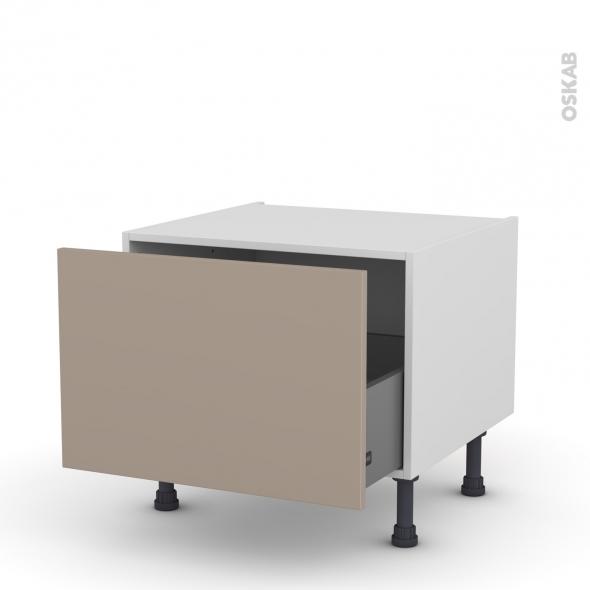 Meuble de cuisine - Bas coulissant - GINKO Taupe - 1 porte - L60 x H41 x P58 cm