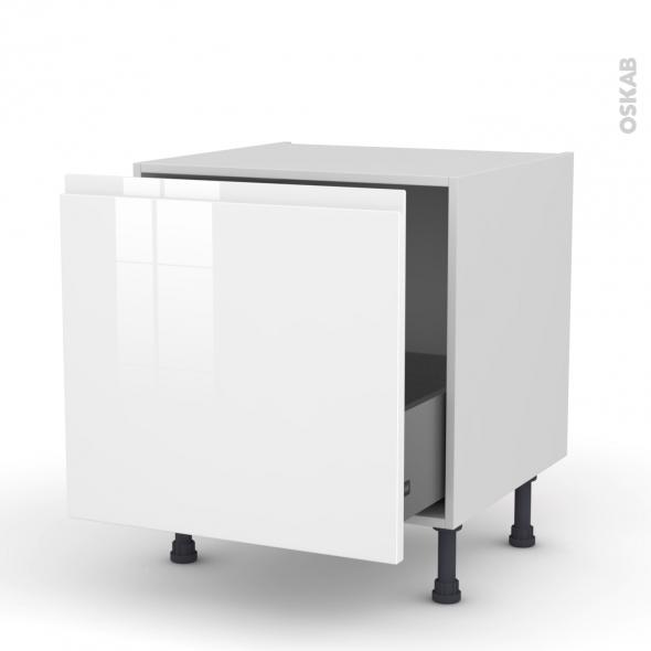 Meuble de cuisine - Bas coulissant - IPOMA Blanc brillant - 1 porte - L60 x H57 x P58 cm