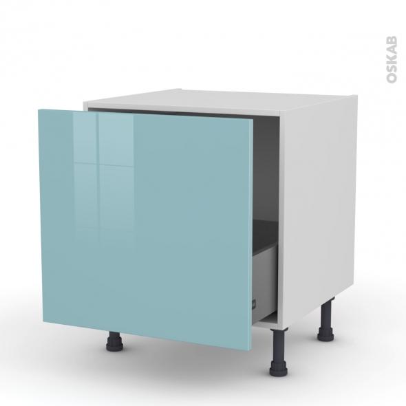 Meuble de cuisine - Bas coulissant - KERIA Bleu - 1 porte - L60 x H57 x P58 cm