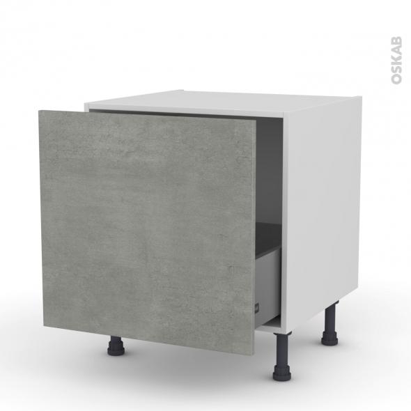 Meuble de cuisine - Bas coulissant - FAKTO Béton - 1 porte - L60 x H57 x P58 cm