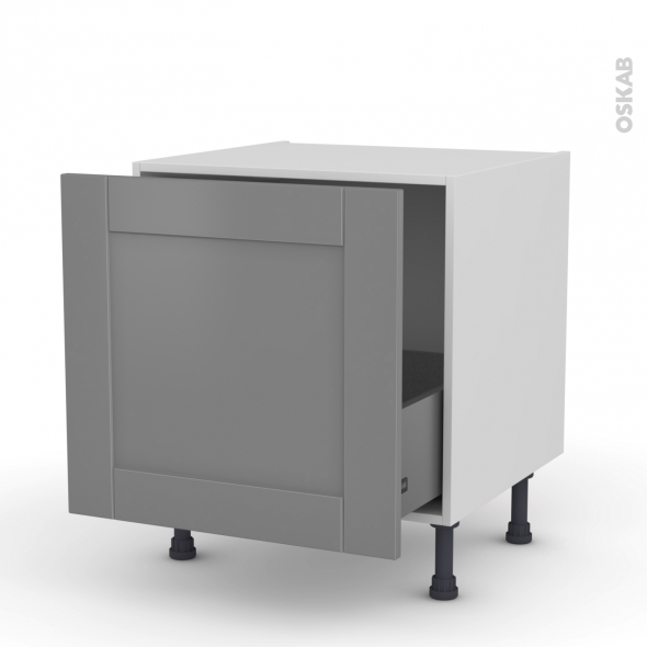 Meuble de cuisine - Bas coulissant - FILIPEN Gris - 1 porte - L60 x H57 x P58 cm