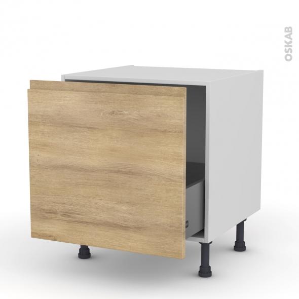 Meuble de cuisine - Bas coulissant - IPOMA Chêne naturel - 1 porte - L60 x H57 x P58 cm