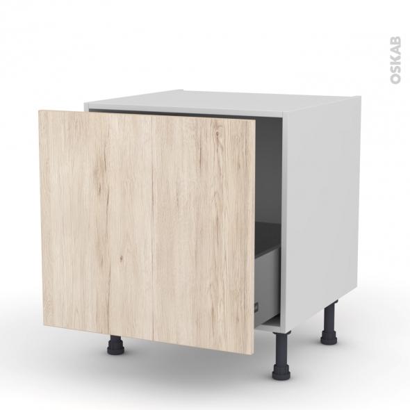 Meuble de cuisine - Bas coulissant - IKORO Chêne clair - 1 porte - L60 x H57 x P58 cm