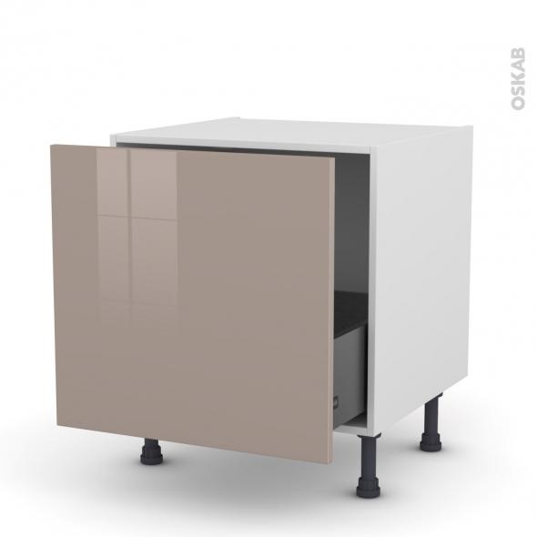 Meuble de cuisine - Bas coulissant - KERIA Moka - 1 porte - L60 x H57 x P58 cm