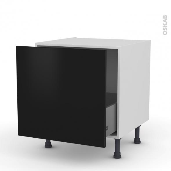 Meuble de cuisine - Bas coulissant - GINKO Noir - 1 porte - L60 x H57 x P58 cm