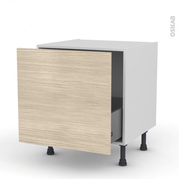 Meuble de cuisine - Bas coulissant - STILO Noyer Blanchi - 1 porte - L60 x H57 x P58 cm