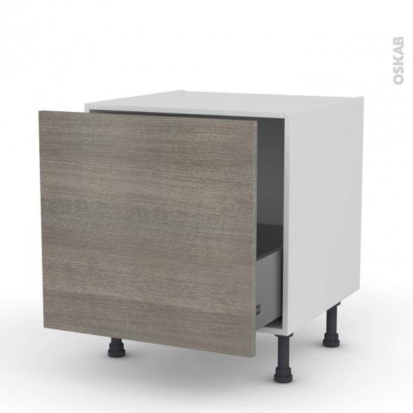 Meuble de cuisine - Bas coulissant - STILO Noyer Naturel - 1 porte - L60 x H57 x P58 cm