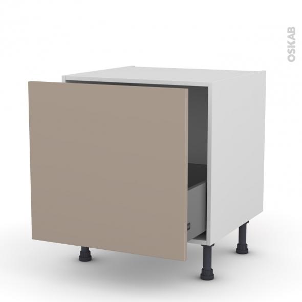 Meuble de cuisine - Bas coulissant - GINKO Taupe - 1 porte - L60 x H57 x P58 cm