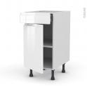 Meuble de cuisine - Bas - IPOMA Blanc brillant - 1 porte 1 tiroir  - L40 x H70 x P58 cm