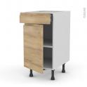 Meuble de cuisine - Bas - IPOMA Chêne naturel - 1 porte 1 tiroir  - L40 x H70 x P58 cm