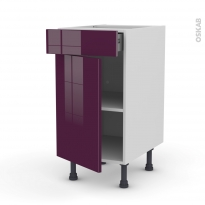 Meuble de cuisine - Bas - KERIA Aubergine - 1 porte 1 tiroir  - L40 x H70 x P58 cm