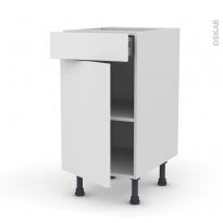 GINKO Blanc - Meuble bas cuisine  - 1 porte 1 tiroir - L40xH70xP58