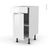 Meuble de cuisine - Bas - IPOMA Blanc - 1 porte 1 tiroir  - L40 x H70 x P58 cm