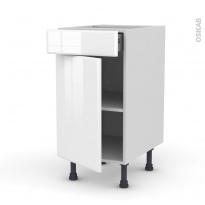 Meuble de cuisine - Bas - IRIS Blanc - 1 porte 1 tiroir  - L40 x H70 x P58 cm