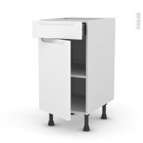 PIMA Blanc - Meuble bas cuisine  - 1 porte 1 tiroir - L40xH70xP58