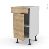 HOSTA Chêne naturel - Meuble bas cuisine  - 1 porte 1 tiroir - L40xH70xP58