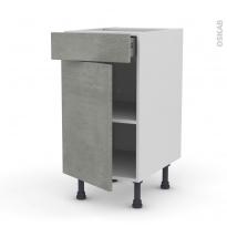 Meuble de cuisine - Bas - FAKTO Béton - 1 porte 1 tiroir  - L40 x H70 x P58 cm
