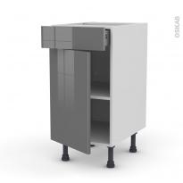 STECIA Gris - Meuble bas cuisine  - 1 porte 1 tiroir - L40xH70xP58
