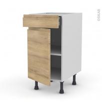 IPOMA Chêne Naturel - Meuble bas cuisine  - 1 porte 1 tiroir - L40xH70xP58