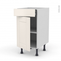 Meuble de cuisine - Bas - FILIPEN Ivoire - 1 porte 1 tiroir  - L40 x H70 x P58 cm