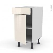 Meuble de cuisine - Bas - KERIA Ivoire - 1 porte 1 tiroir  - L40 x H70 x P58 cm