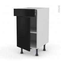 Meuble de cuisine - Bas - GINKO Noir - 1 porte 1 tiroir  - L40 x H70 x P58 cm