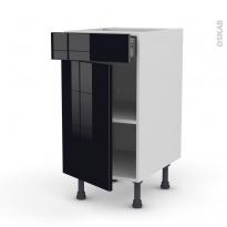Meuble de cuisine - Bas - KERIA Noir - 1 porte 1 tiroir  - L40 x H70 x P58 cm