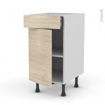 STILO Noyer Blanchi - Meuble bas cuisine  - 1 porte 1 tiroir - L40xH70xP58