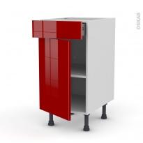 STECIA Rouge - Meuble bas cuisine  - 1 porte 1 tiroir - L40xH70xP58