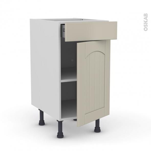 SILEN Argile - Meuble bas cuisine  - 1 porte 1 tiroir - L40xH70xP58 - droite
