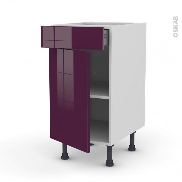 KERIA Aubergine - Meuble bas cuisine  - 1 porte 1 tiroir - L40xH70xP58