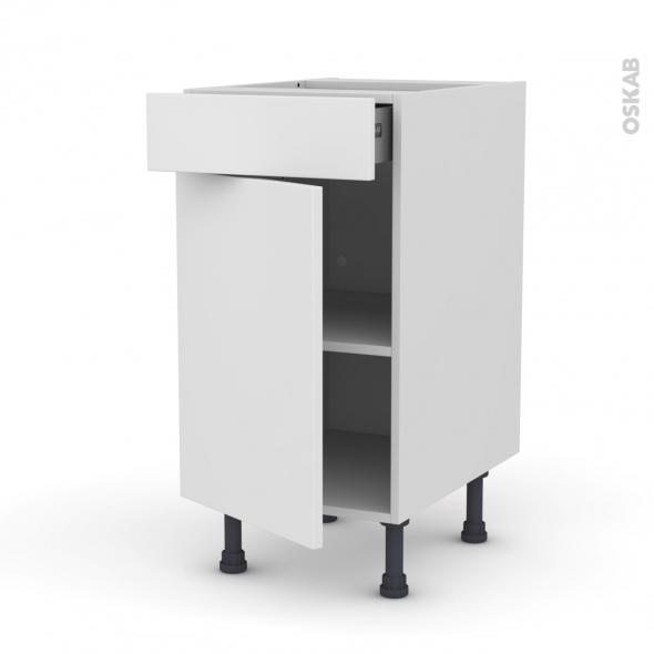 Meuble de cuisine - Bas - GINKO Blanc - 1 porte 1 tiroir  - L40 x H70 x P58 cm