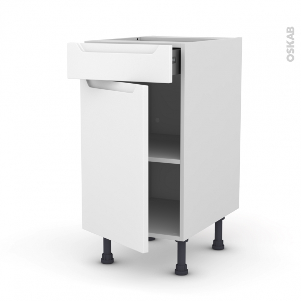Meuble de cuisine - Bas - PIMA Blanc - 1 porte 1 tiroir  - L40 x H70 x P58 cm