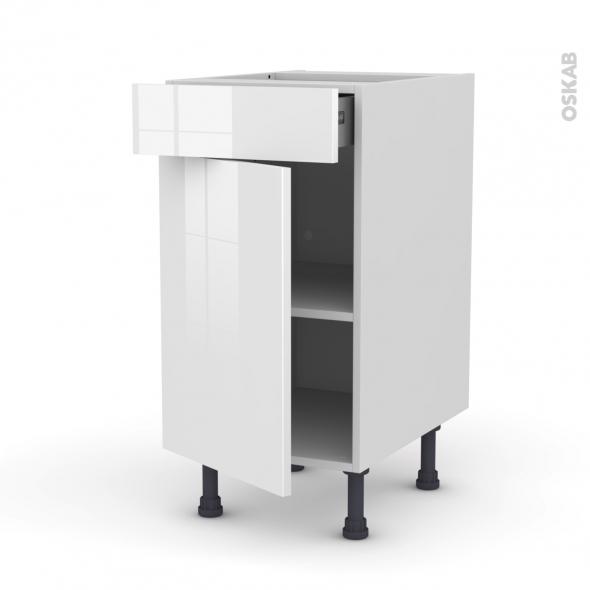 STECIA Blanc - Meuble bas cuisine  - 1 porte 1 tiroir - L40xH70xP58
