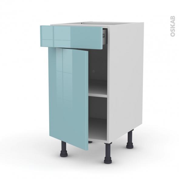 Meuble de cuisine - Bas - KERIA Bleu - 1 porte 1 tiroir  - L40 x H70 x P58 cm