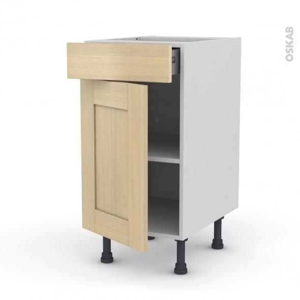 BASILIT Bois Vernis - Meuble bas cuisine  - 1 porte 1 tiroir - L40xH70xP58