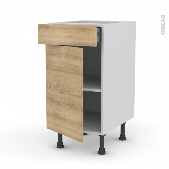 Meuble de cuisine - Bas - HOSTA Chêne naturel - 1 porte 1 tiroir  - L40 x H70 x P58 cm