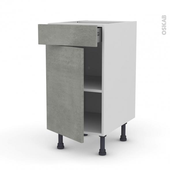 FAKTO Béton - Meuble bas cuisine  - 1 porte 1 tiroir - L40xH70xP58