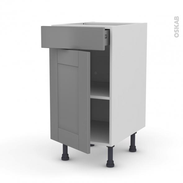 Meuble de cuisine - Bas - FILIPEN Gris - 1 porte 1 tiroir  - L40 x H70 x P58 cm