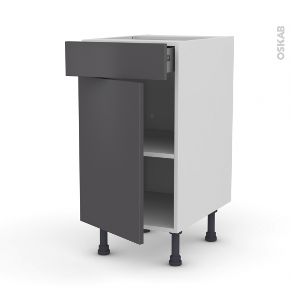Meuble de cuisine - Bas - GINKO Gris - 1 porte 1 tiroir  - L40 x H70 x P58 cm