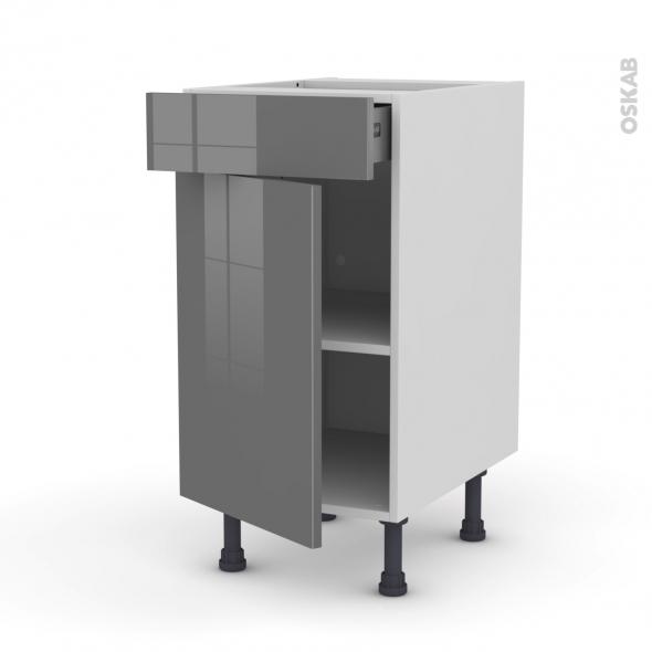 meuble de cuisine bas stecia gris 1 porte 1 tiroir l40 x h70 x p58 ... - Meuble Cuisine Tiroir Coulissant