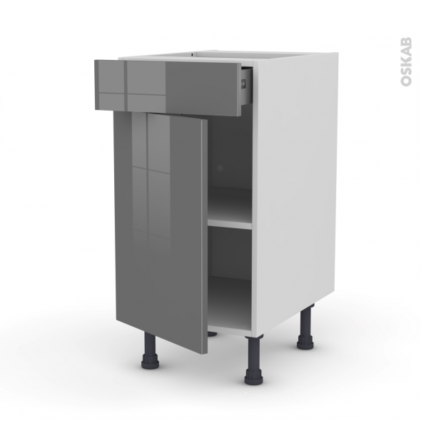 Meuble de cuisine - Bas - STECIA Gris - 1 porte 1 tiroir  - L40 x H70 x P58 cm