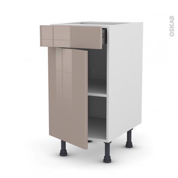 Meuble de cuisine - Bas - KERIA Moka - 1 porte 1 tiroir  - L40 x H70 x P58 cm